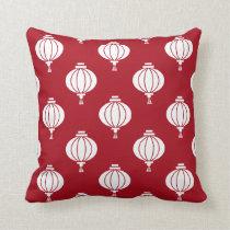 red white paper lanterns oriental pattern throw pillow