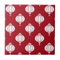 red white paper lanterns oriental pattern tile