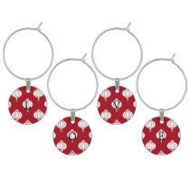 red white paper lanterns oriental pattern wine glass charm