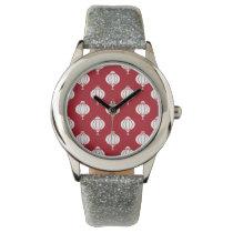red white paper lanterns oriental pattern wrist watch