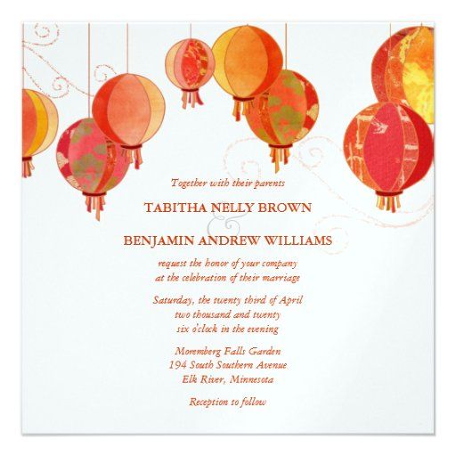 Red White Paper Lanterns Wedding (Metallic Ice) Personalized Invitations