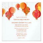 "Red White Paper Lanterns Wedding (Metallic Ice) 5.25"" Square Invitation Card"