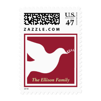 Red white peace dove bird green christmas holiday stamp
