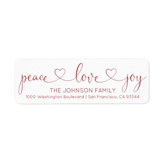 red white peace love joy christmas holiday label zazzle com