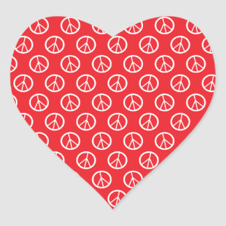 Red White Peace Signs Heart Sticker