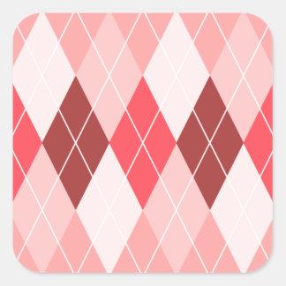 Red White Peach Argyle Pattern Square Sticker