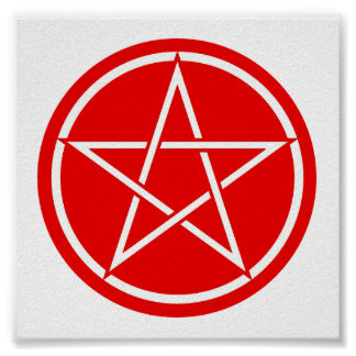 Red & White Pentacle Poster