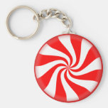 Red White Peppermint Candy Keychain