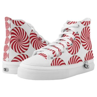 Red White Peppermint Candy Swirl Printed Shoes