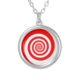 Red & White Peppermint Candy Swirl Silver Plated Necklace