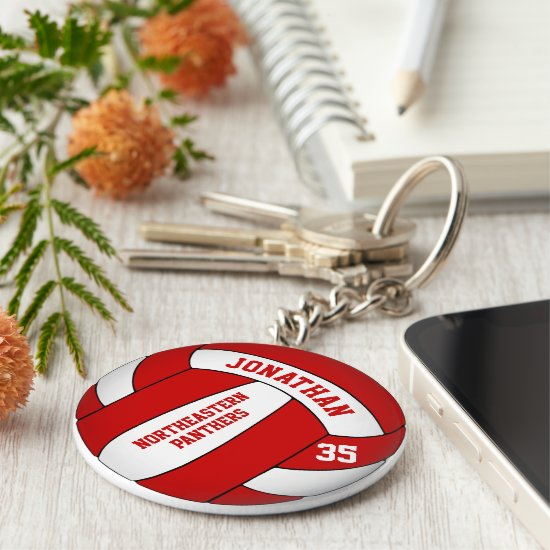 red white personalized boys' volleyball keychain