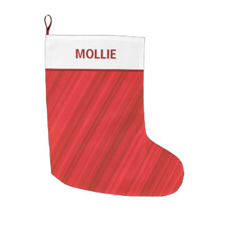 Red White Personalized Christmas Holiday Large Christmas Stocking
