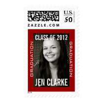Red White Personalized Graduation Postage