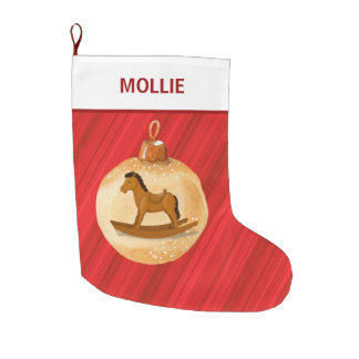Red White Personalized Rocking Horse Ornament Large Christmas Stocking
