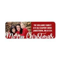 Red White Photo Christmas Return Address Labels