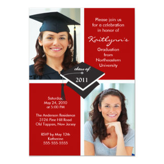Red & White Photo Graduation Invitation