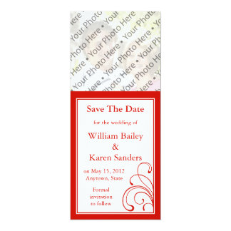 """Red & White Photo Save the Date Announcement 4"""" X 9.25"""" Invitation Card"""