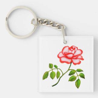 Red White Picotee Rose Customizable Keychain