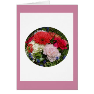 Red, White, Pink Bouquet Card