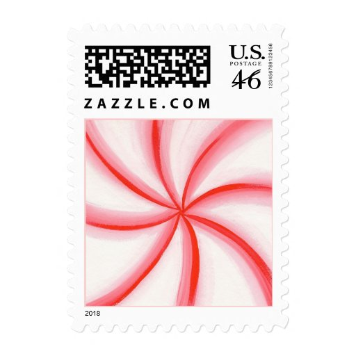 Red White Pink Candy Mint Swirl postage stamps