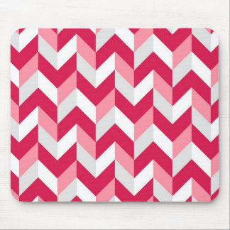 Red White Pink Herringbone Chevron Zigzag Pattern Mouse Pad