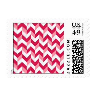 Red White Pink Herringbone Chevron Zigzag Pattern Postage