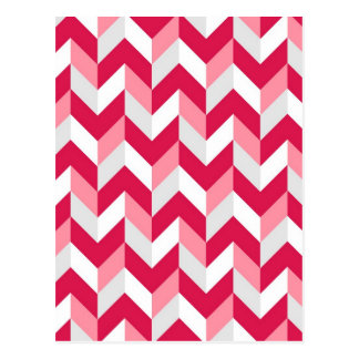 Red White Pink Herringbone Chevron Zigzag Pattern Postcard
