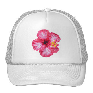 red white pink hibiscus aloha flower trucker hat