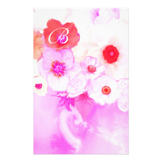 RED WHITE PINK ROSES AND ANEMONE FLOWERS MONOGRAM STATIONERY