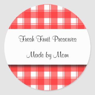 Red White Plaid Custom Canning Stickers
