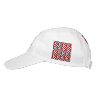 red white plaid-flowers headsweats hat