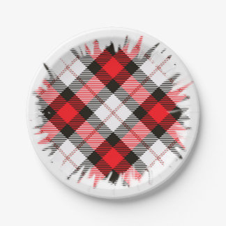 red white plaid paper plate