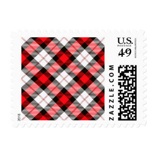 red white plaid postage stamps
