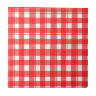 Red White Plaid Stripes Pattern Tile