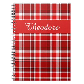 Red White Plaid Tartan | Add Your Name Notebook