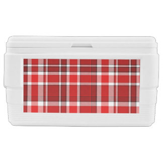 Red White Plaid Tartan Ice Chest