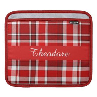Red White Plaid Tartan iPad Sleeve