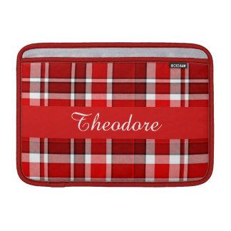 Red White Plaid Tartan MacBook Sleeves
