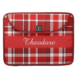 Red White Plaid Tartan Sleeve For MacBook Pro
