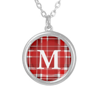 Red White Plaid Tartan Monogram Silver Plated Necklace