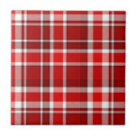 "Red White Plaid Tartan Tile<br><div class=""desc"">This red and white plaid design has a repeating checked / tartan pattern that&#39;s lightly textured. It&#39;s a bright,  stylish plaid pattern.</div>"