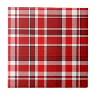 Red White Plaid Tartan Tile