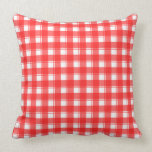 Red White Plaid Throw Pillow