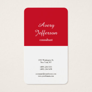 Red White Plain Modern Minimalist Professional Business Card