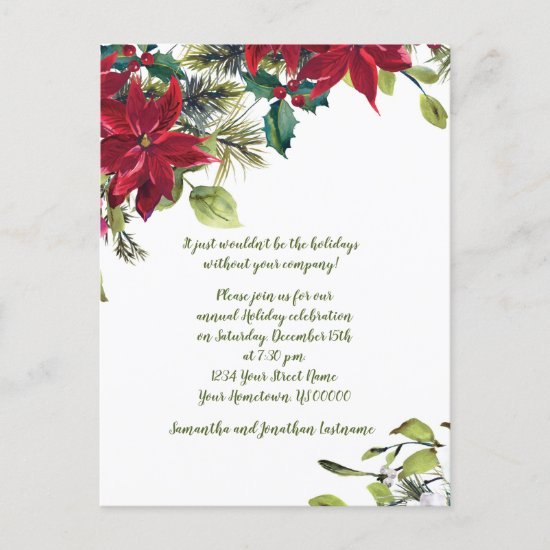 Red & White Poinsettia Holly Christmas Party Invitation Postcard
