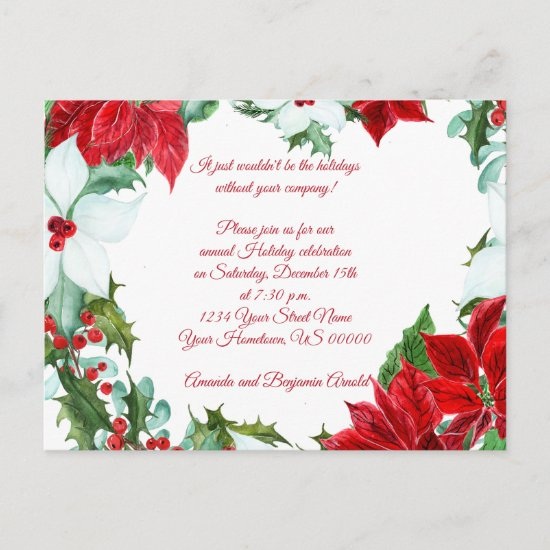 Red White Poinsettias Holly Berries Holiday Party Postcard
