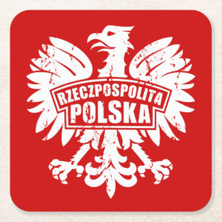 "Red & White Polish ""Rzeczpospolita Polska"" Eagle Square Paper Coaster"