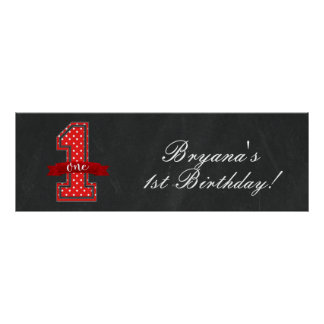 Red & White Polka Dot 1 One 1st Birthday Party Poster