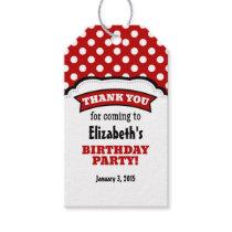 Red White Polka Dot Birthday Thank You Tags