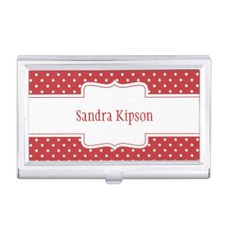 Red & White Polka Dot Business Card Holder